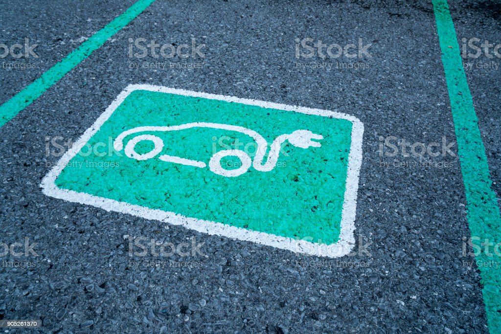 Parking Parking reserved for electric cars Alternative Fuel Vehicle Stock Photo