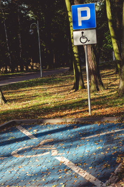 Parking place for the disabled, symbol / sign in the autumn park.