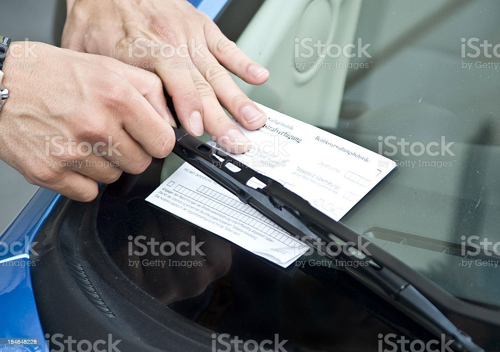 parking  prohibition - violation ticket stock photo