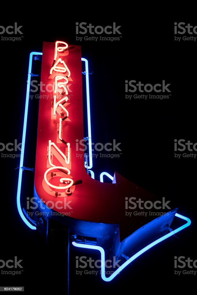 Parking Red and Blue Neon Sign stock photo