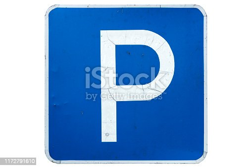 'Parking' road sign with cracks isolated on white.