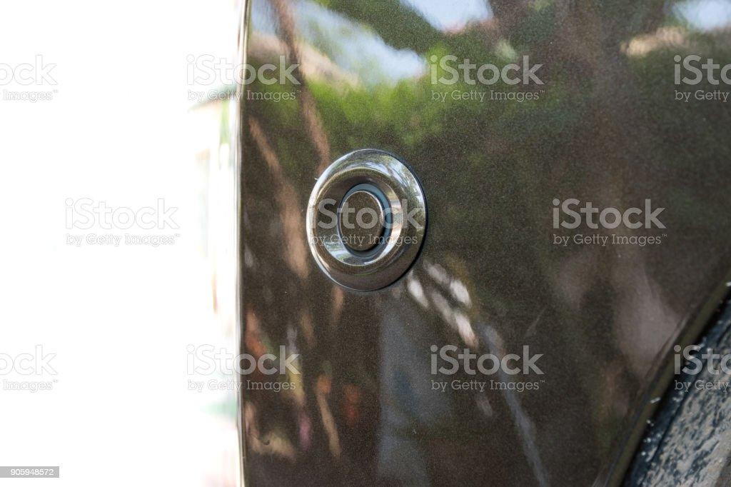 parking sensor on car bumper stock photo