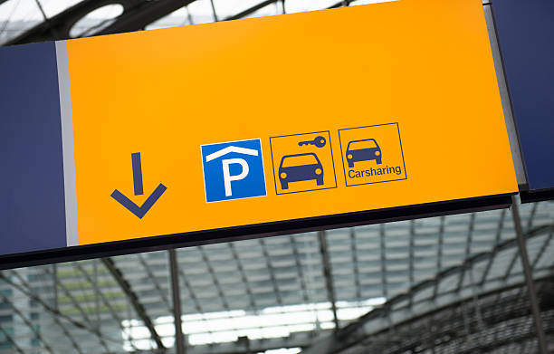 Parking sign at the airport stock photo