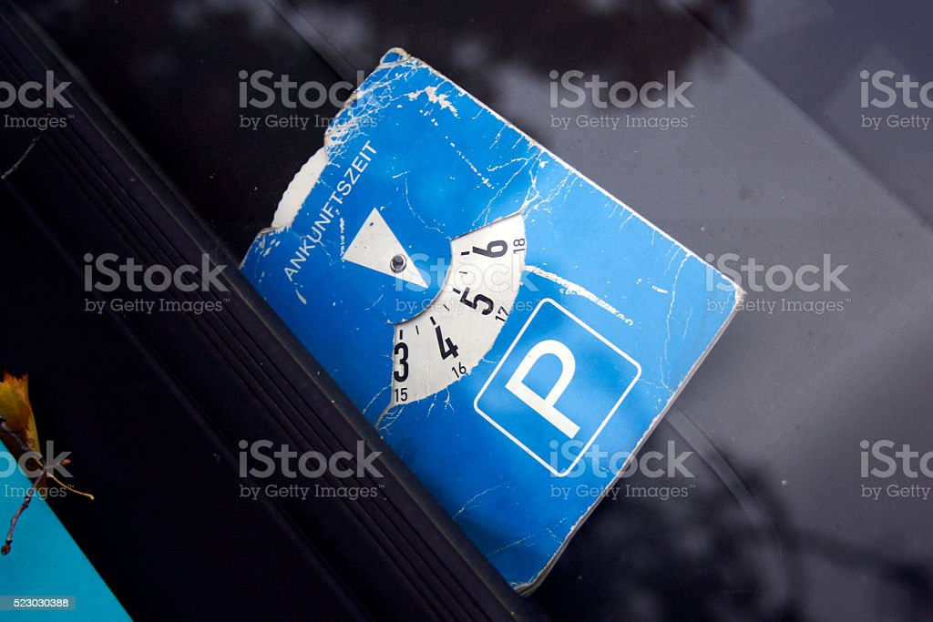 Parking Sign, Blue Parking Disc Time Measure stock photo