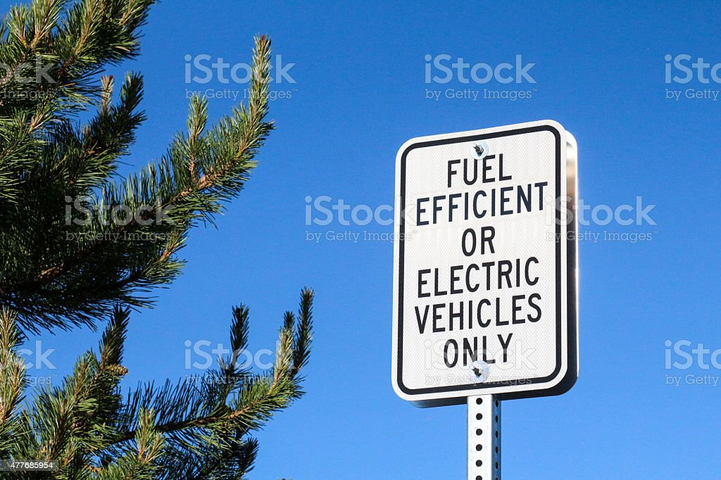 Parking sign for fuel efficient or electric vehicles only stock photo