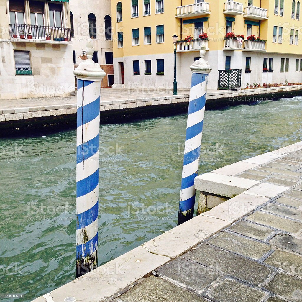 Parking space for boats in Venice, Italy stock photo