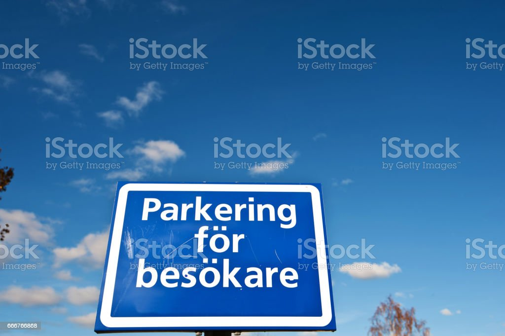 Parking Space for Visitors sign (in Swedish) foto stock royalty-free