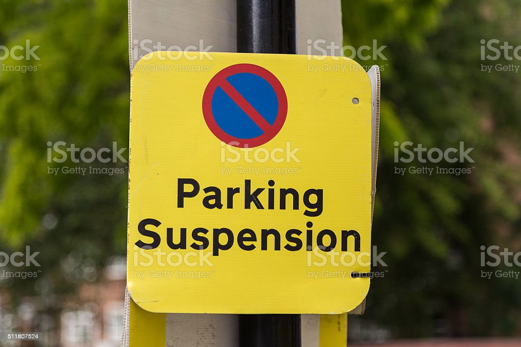 Parking Suspension Sign stock photo