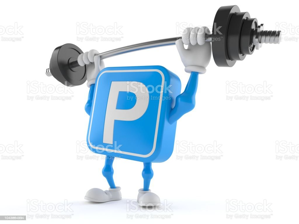 Parking symbol character lifting heavy barbell stock photo