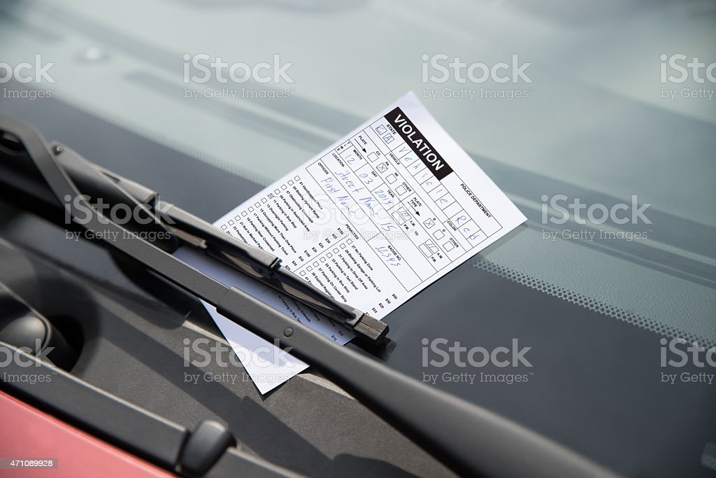 Parking Ticket On Car stock photo