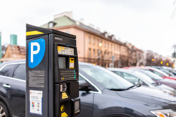 Parking ticket pay vending machine for making payments by cars parked in Warsaw stock photo