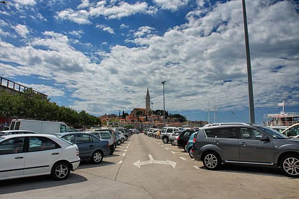 Parking with cars in Rovinj in Croatia stock photo