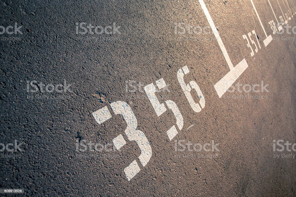 Parking zone asphalt with marks. stock photo