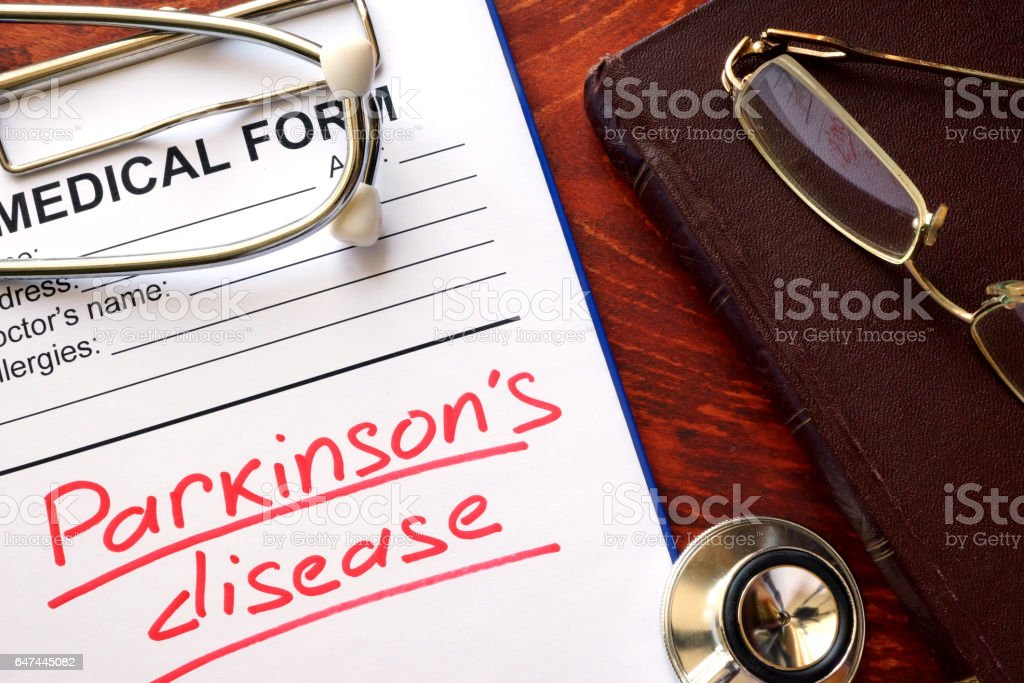 Parkinson disease written in a medical form. stock photo