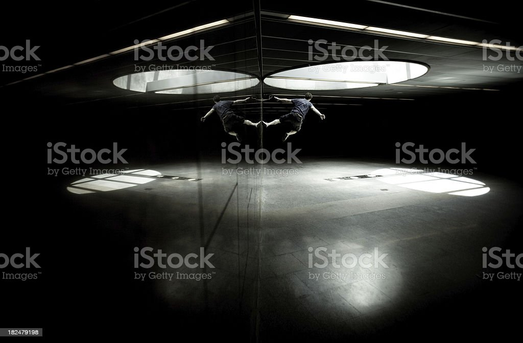 Parkour and freerunning in a subway tunnel royalty-free stock photo
