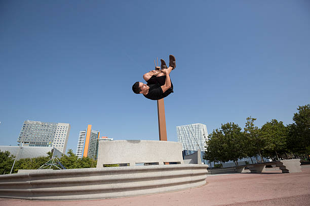 Parkour practicing in Barcelona Spain stock photo
