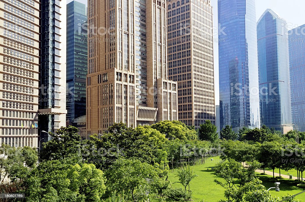 Parks and modern architecture royalty-free stock photo