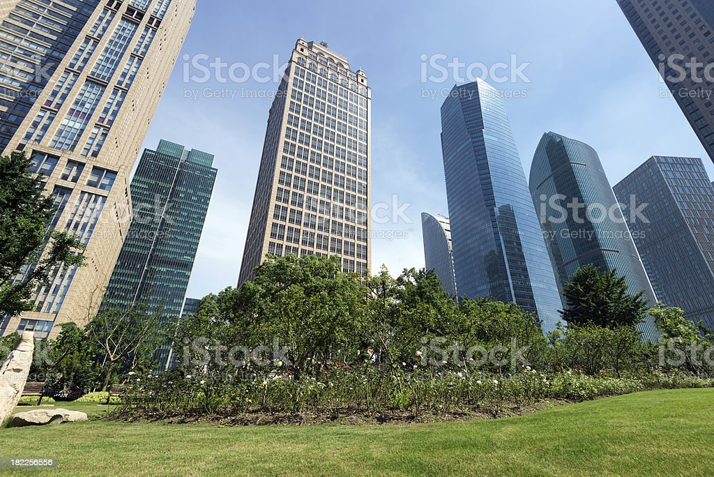 Parks and modern architecture stock photo