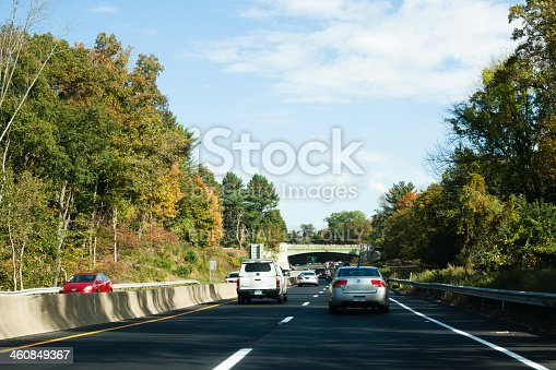 Norwalk, CT, USA - October 12, 2013: Everyday scene of traffic on an autumn day on the