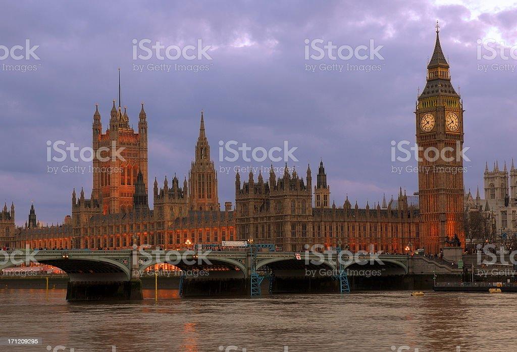Parliament and Big Ben at Dusk royalty-free stock photo