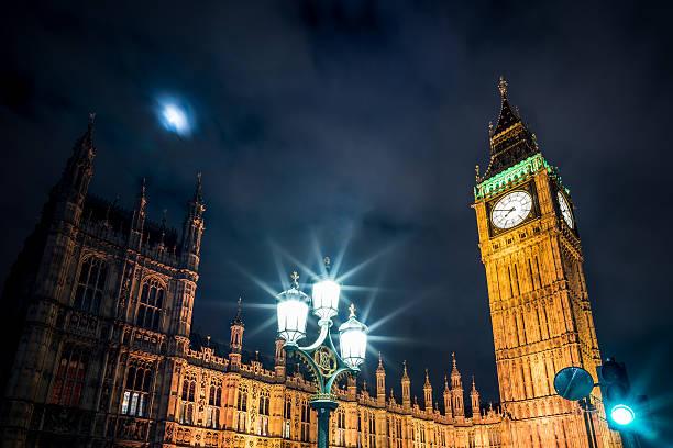 Parliament and streetlight dark stock photo