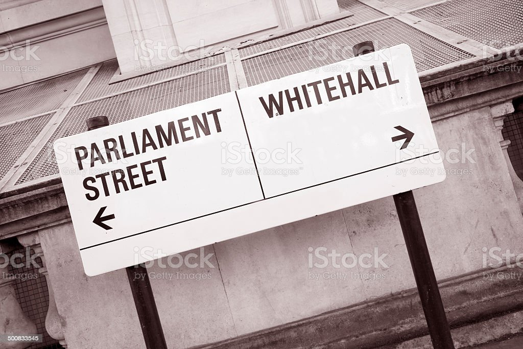 Parliament and Whitehall Street Sign in Westminster London stock photo