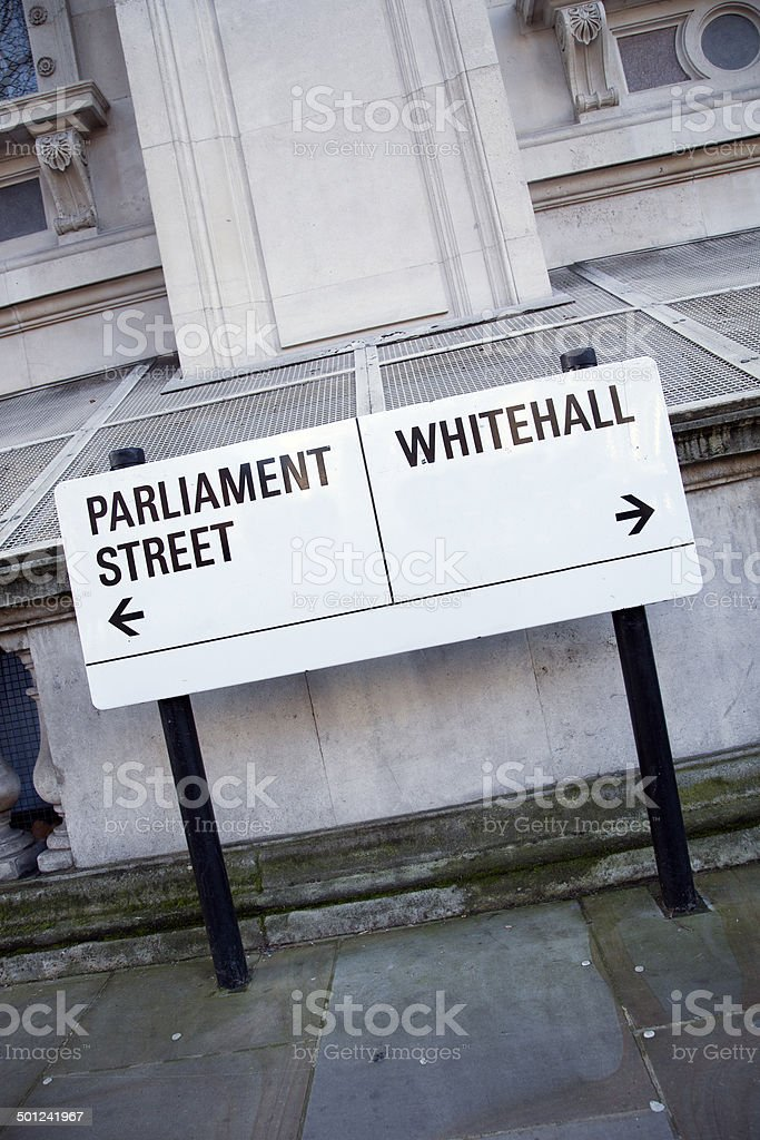 Parliament and Whitehall Street Sign in Westminster, London stock photo