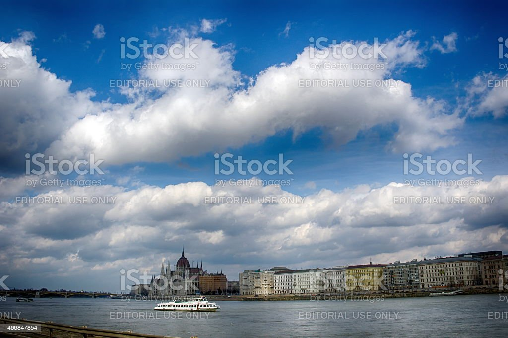 Parliament Budapest Hungary Danube River Boat stock photo