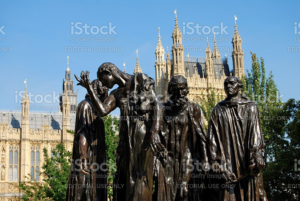 Parliament building & replica sculpture in London stock photo