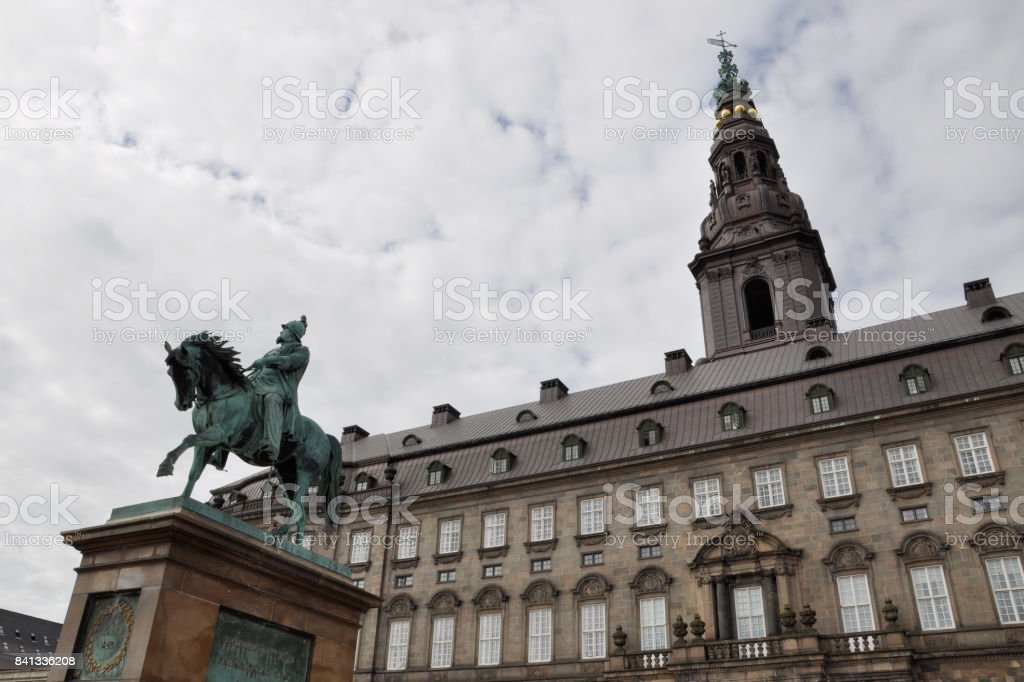 Parliament building and the statue of King Frederick Seventh, Copenhagen stock photo