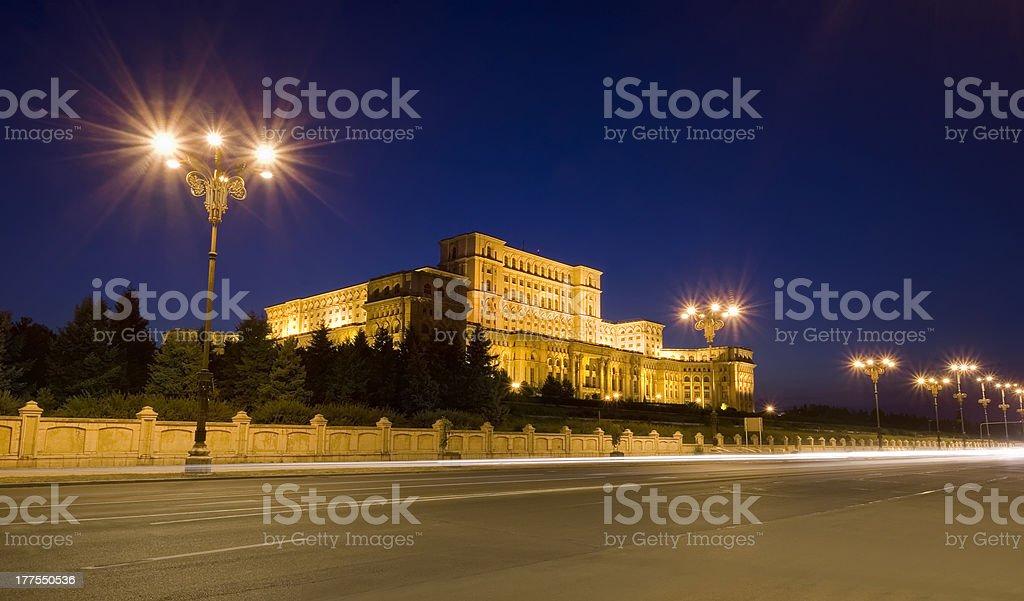Parliament building at night, Bucharest stock photo