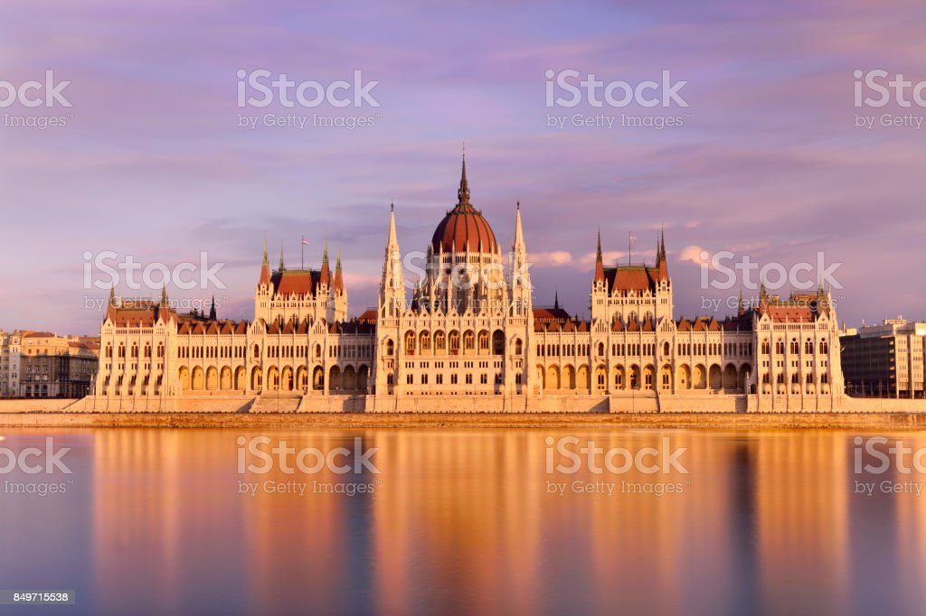 Parliament Building at Sunset, Budapest, Hungary stock photo