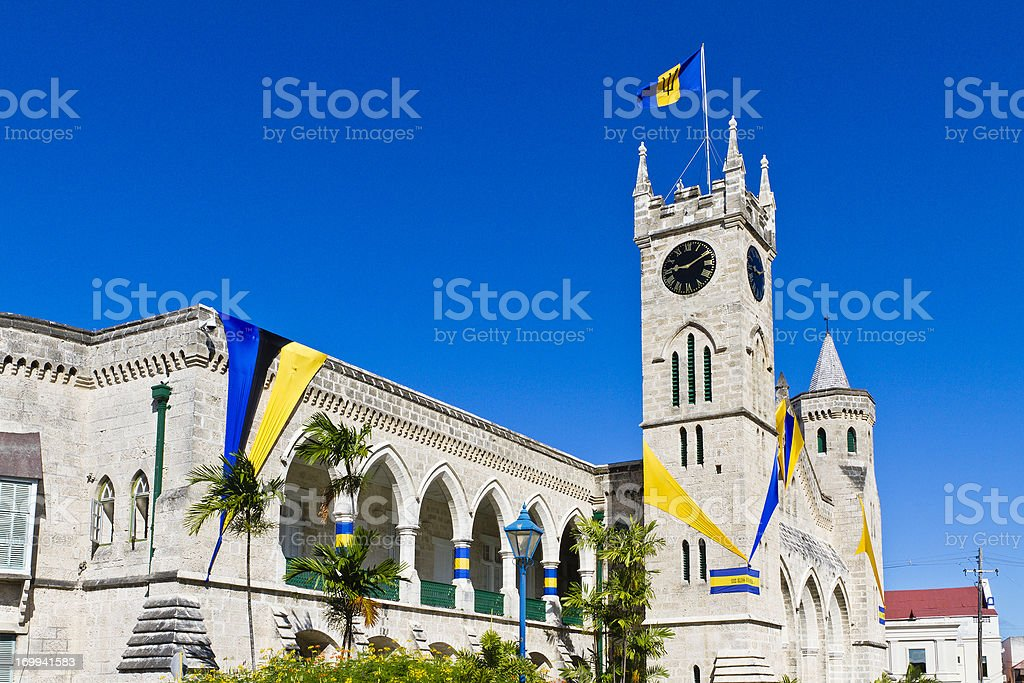 A parliament building in Bridgetown stock photo