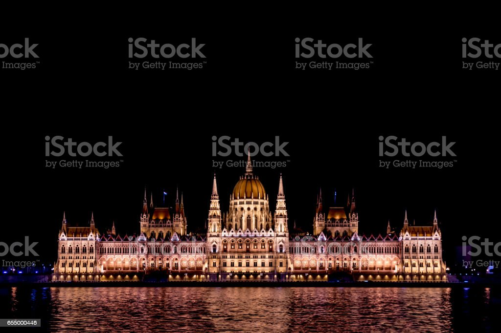 Parliament building in Budapest at night stock photo