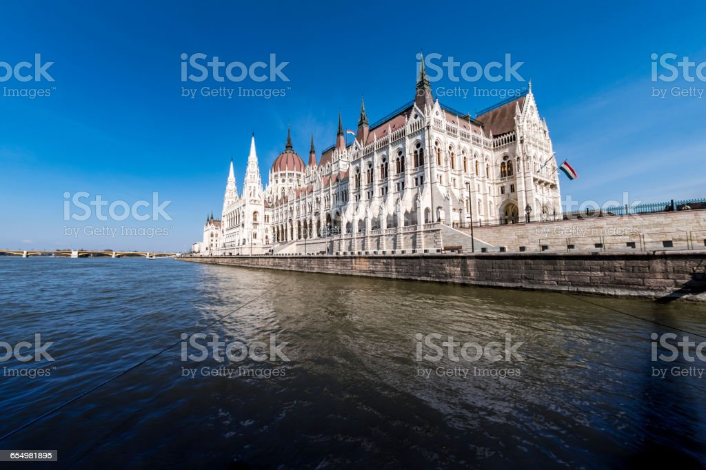 Parliament building in Budapest from the Danube river stock photo