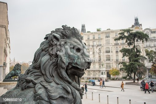 Detail of the lions in the entrance of the Parliament building in Madrid, Spain