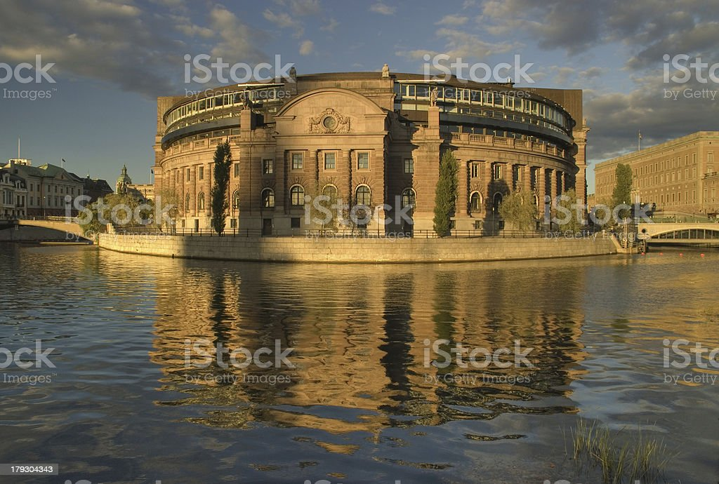 Parlament building in Stockholm stock photo