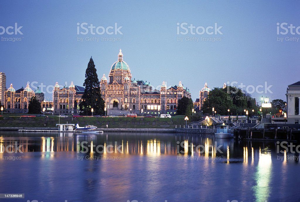 Parliament building in Victoria, BC, circa 1976 stock photo