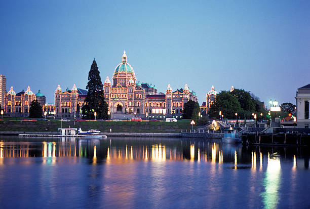 Parliament building in Victoria, BC, circa 1976 Legislative building on the water's edge in Victoria, British Columbia, with lots of room for copy space. hearkencreative stock pictures, royalty-free photos & images