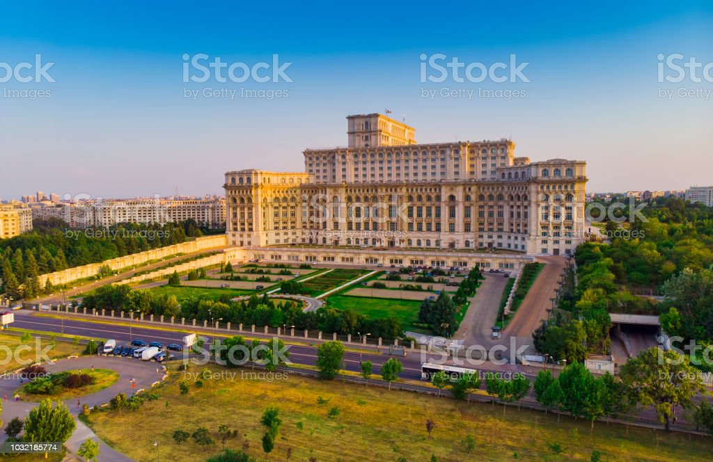 Parliament building or People's House in Bucharest city. stock photo