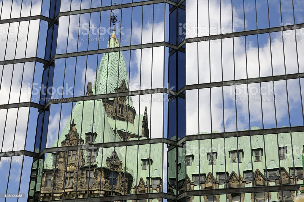 Parliament Building Reflection on Glass royalty-free stock photo