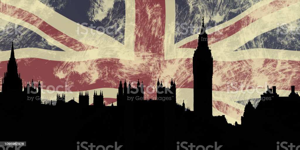 UK Parliament Buildings and Union Jack stock photo