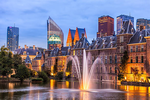 parliament buildings in the hague - netherlands stockfoto's en -beelden