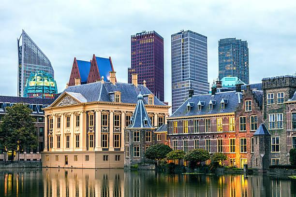 parliament buildings in the hague - den haag stockfoto's en -beelden