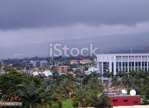 Malabo, Equatorial Guinea: Economic and Monetary Community of Central Africa parliament in the background (CEMAC - Communauté Économique des États de l'Afrique Centrale)