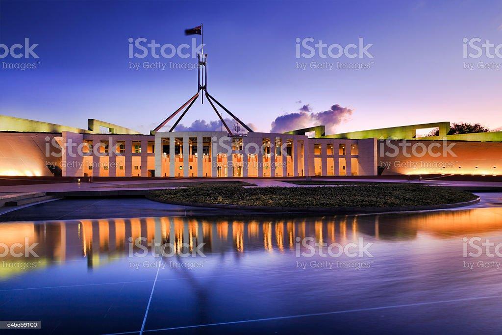 CAN Parliament Facade water ligh set stock photo