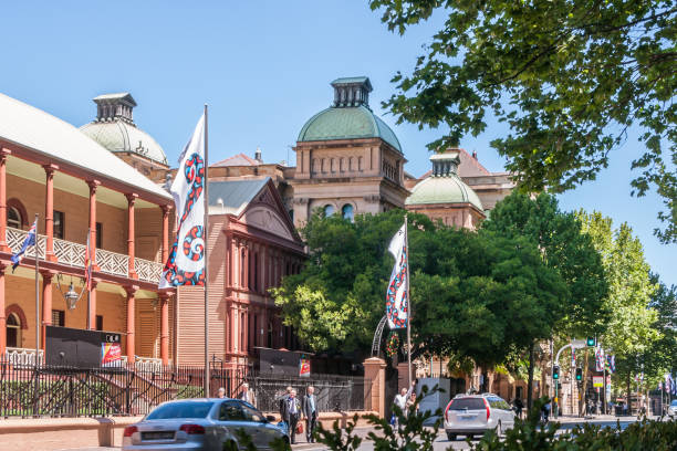 NSW Parliament Guard House with towers of Sydney Hospital, Australia. stock photo