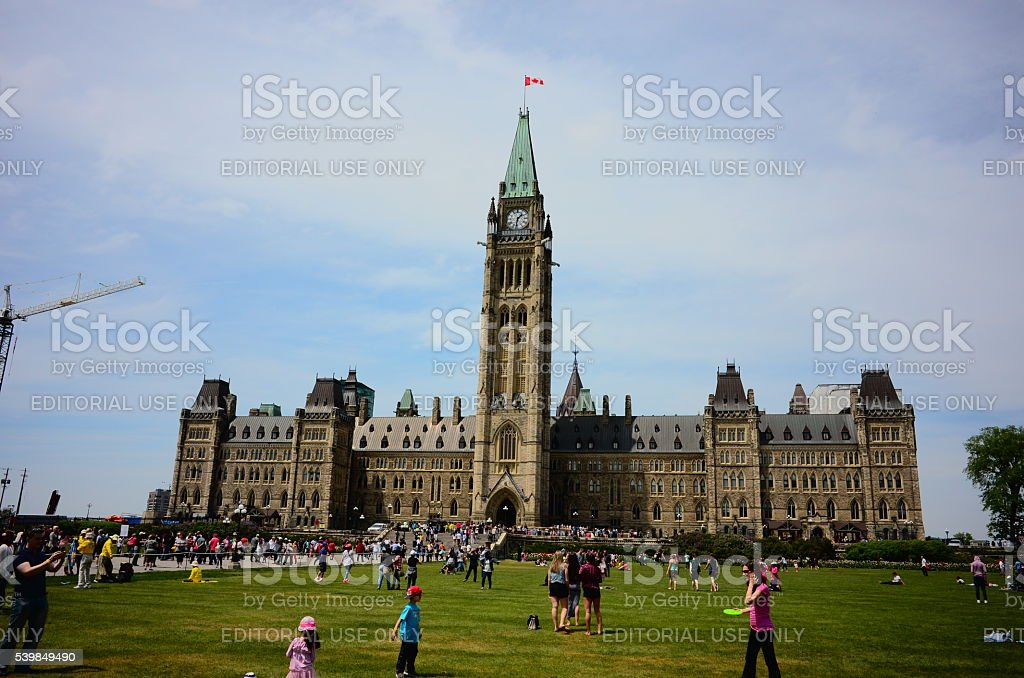 Parliament Hill in Canadian capital Ottawa stock photo