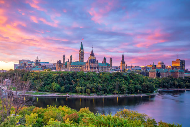 Parliament Hill in Ottawa, Ontario, Canada stock photo