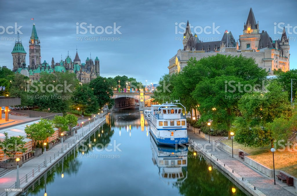 Parliament Hill  on the Rideau Canal stock photo